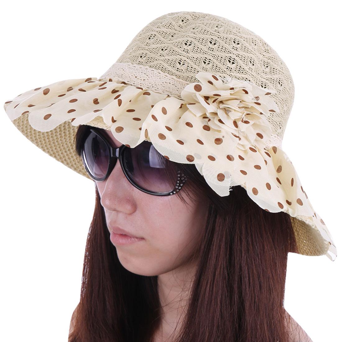Women Elastic Neck Strap Wide Brim Dots Sun Hat Beige