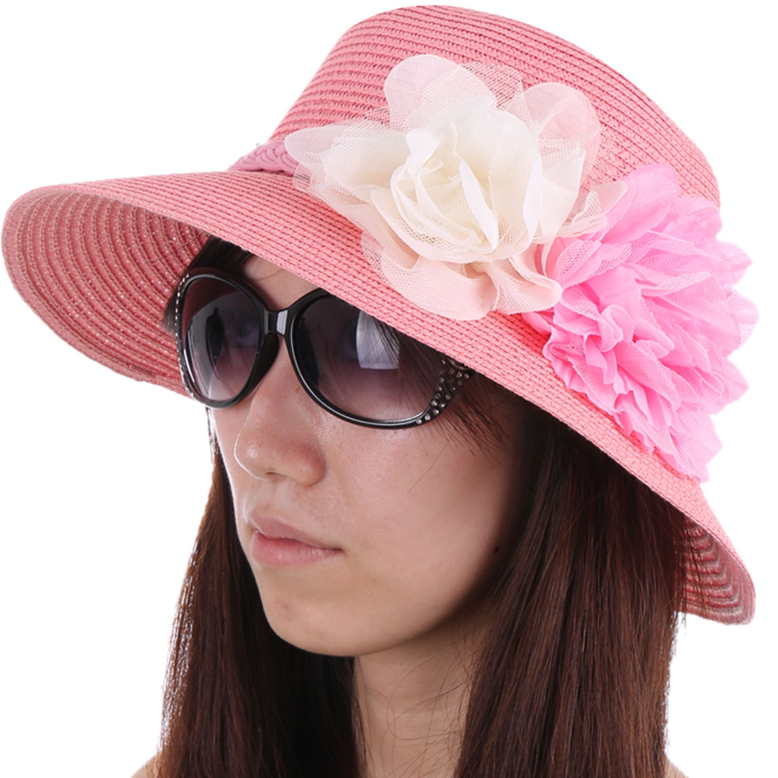 Women Pretty Pink Color Handmade Flowers Decor Sun Straw Hat