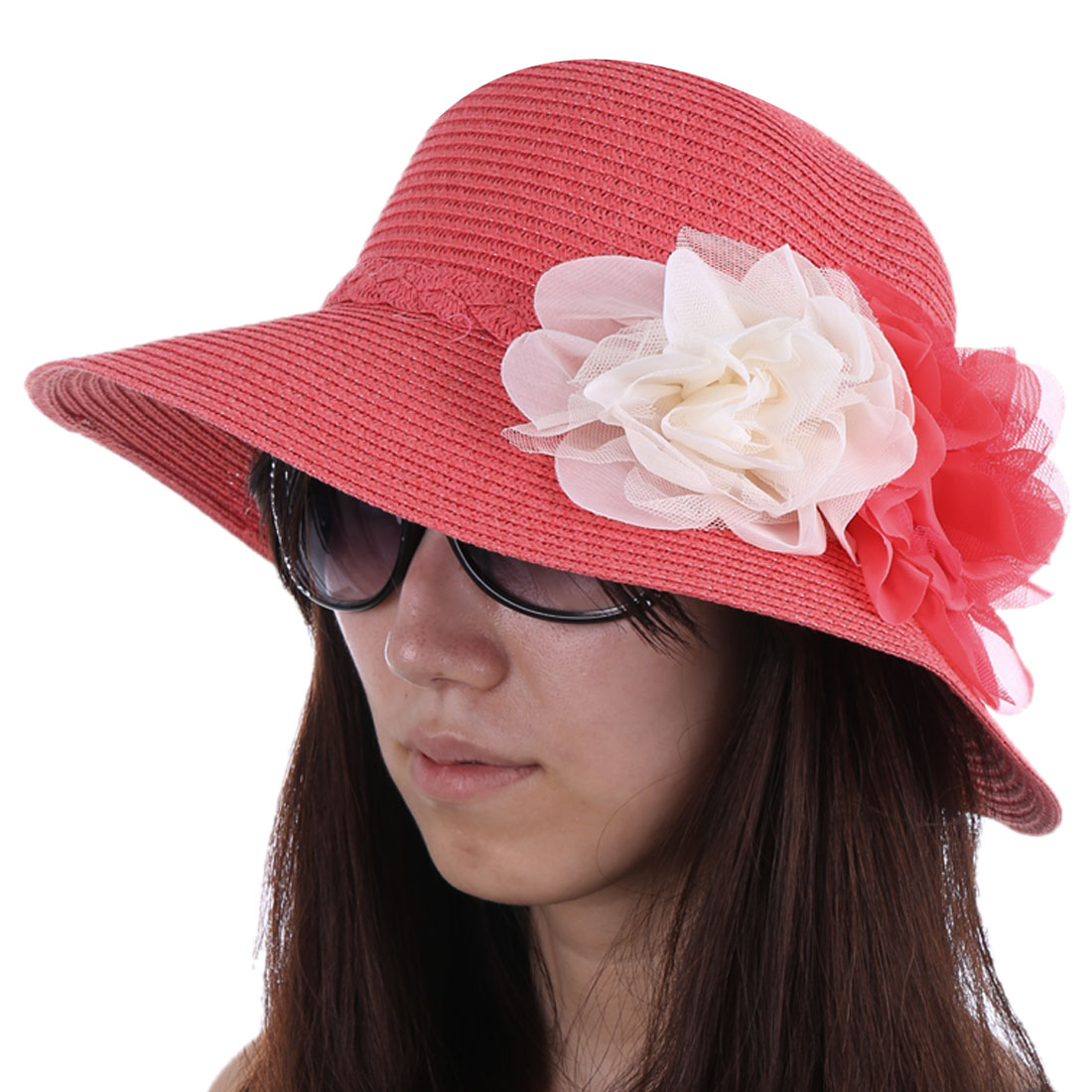 Ladies Chic Two Handmade Flowers Decor Fuchsia Straw Woven Sun Hat