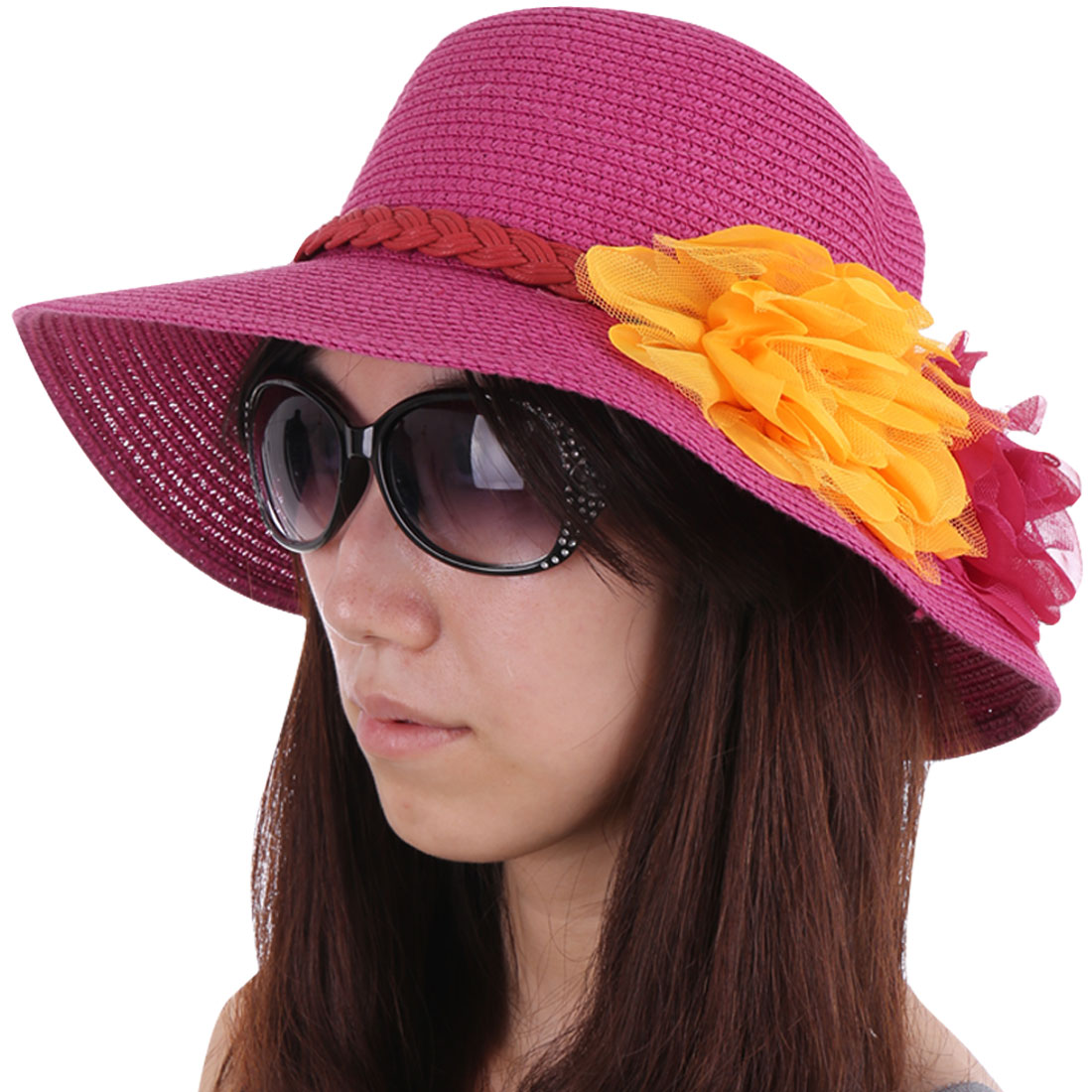 Stylish Manmade Flowers Embellished Red Color Sun Hat for Woman