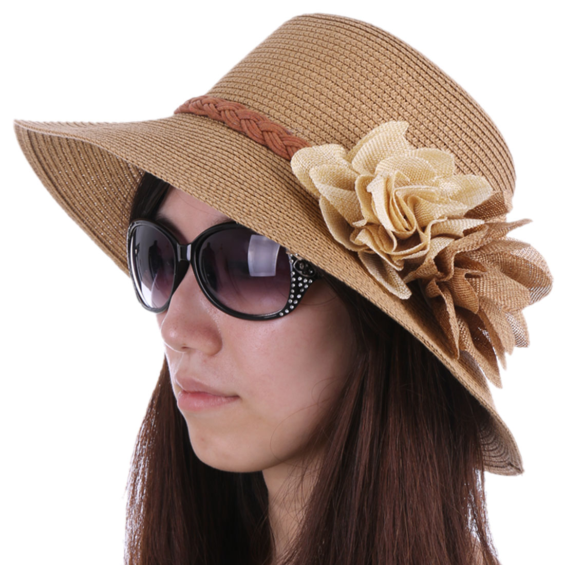 Woman Pretty Light Brown Color Manmade Flower Decor Sun Straw Hat