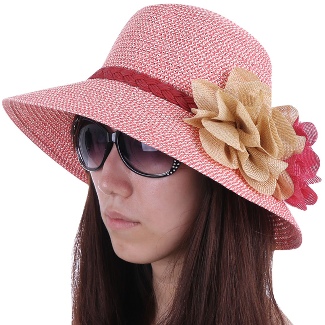 Ladies Stylish Handmade Flower Decor Round Brim Pink White Sun Hat
