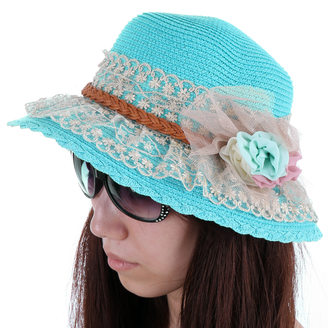 Woman NEW Fashion Sky Blue Round Brim Straw Braided Sun Hat