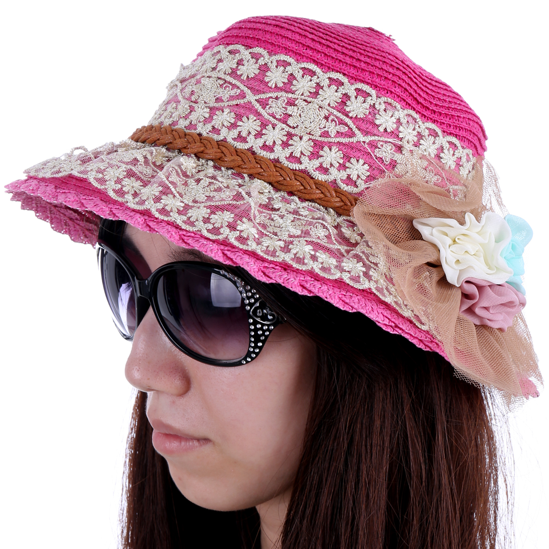 Stylish Fuchsia Lace Covered Flower Decor Sun Straw Hat for Lady