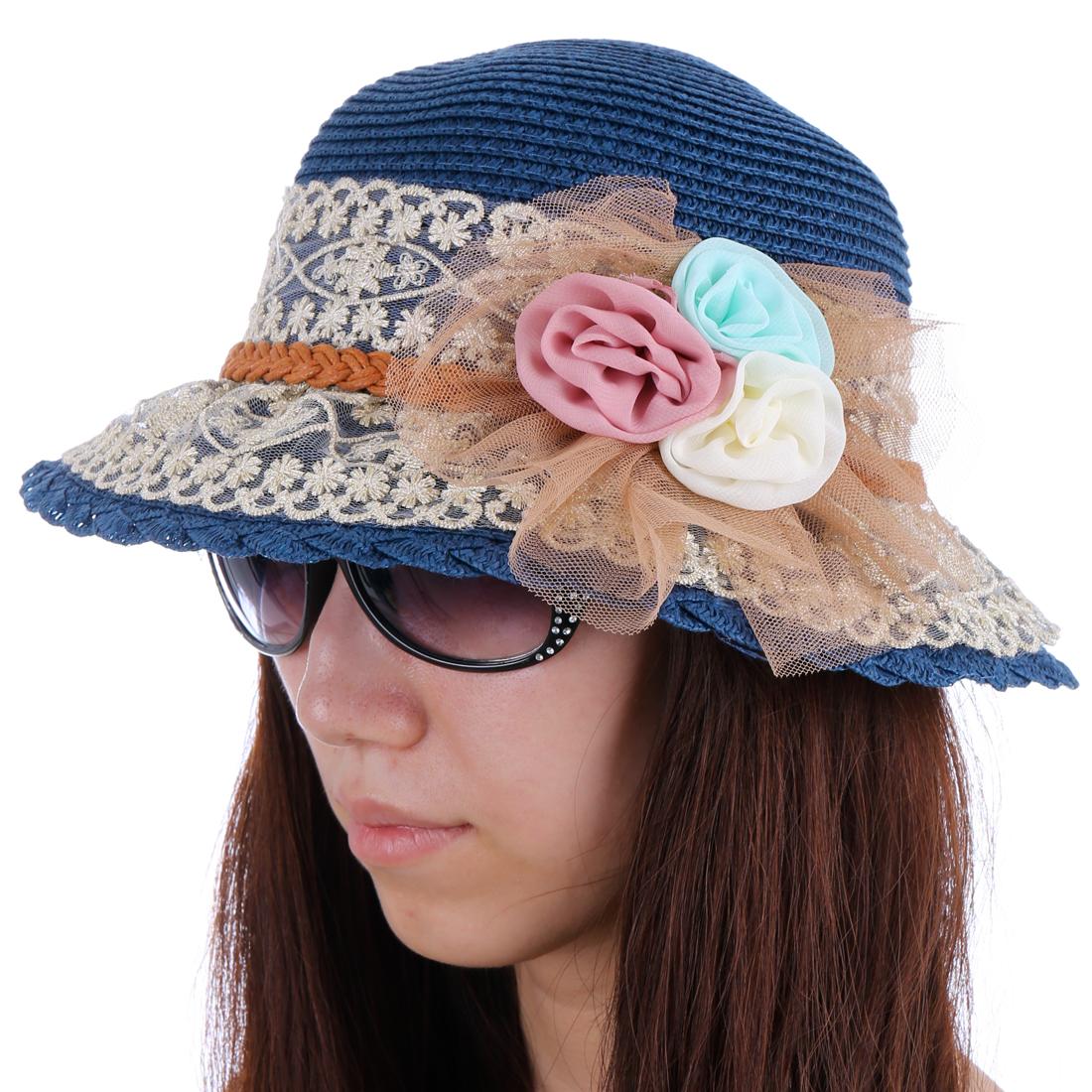 Lady NEW Fashion Round Brim Flower Decor Dark Blue Beach-Chic Sun Hat