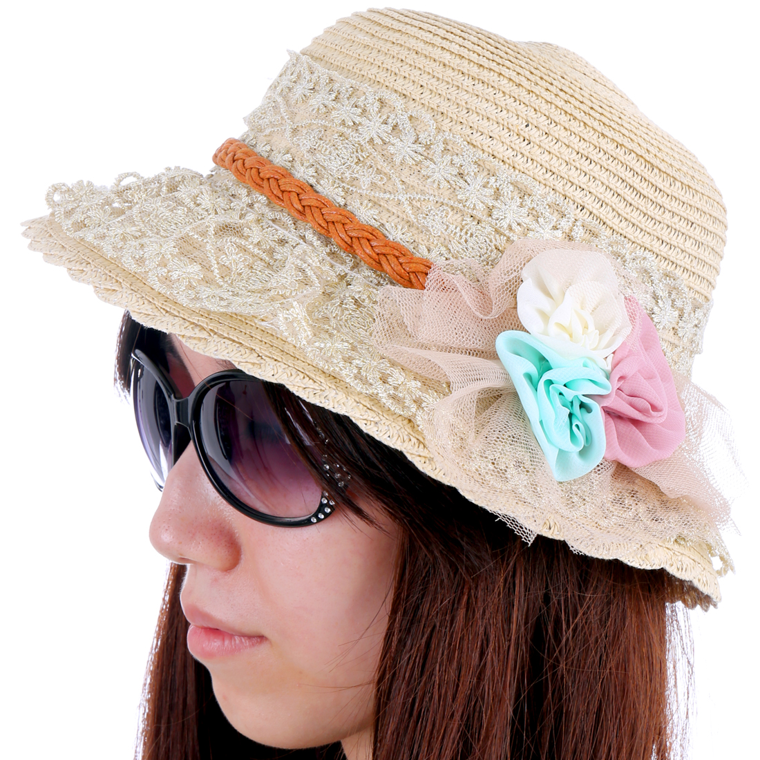 Woman Chic Lace Covered Handmade Flower Embellished Beige Sun Hat