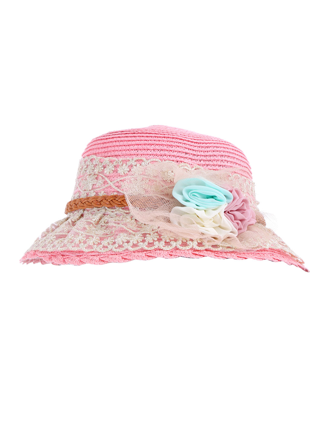 Chic Pink Color Lace Covered Flower Decor Sun Straw Hat for Lady