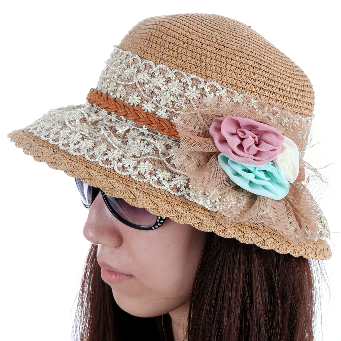 Ladies Chic Lace Covered Handmade Flower Decor Light Brown Sun Hat