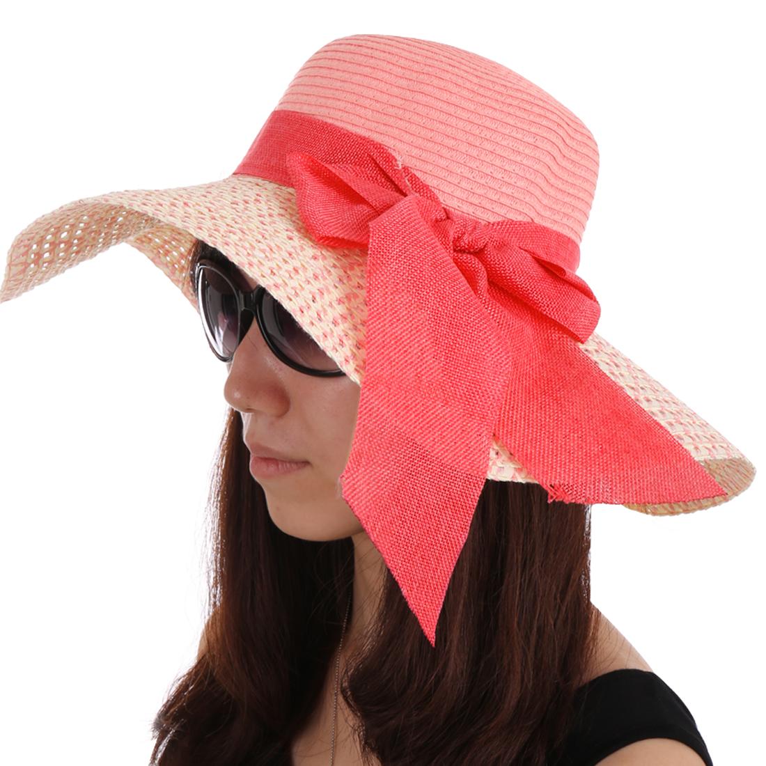 Women Bowknot Decor Elastic Neck Strap Hat Pink White