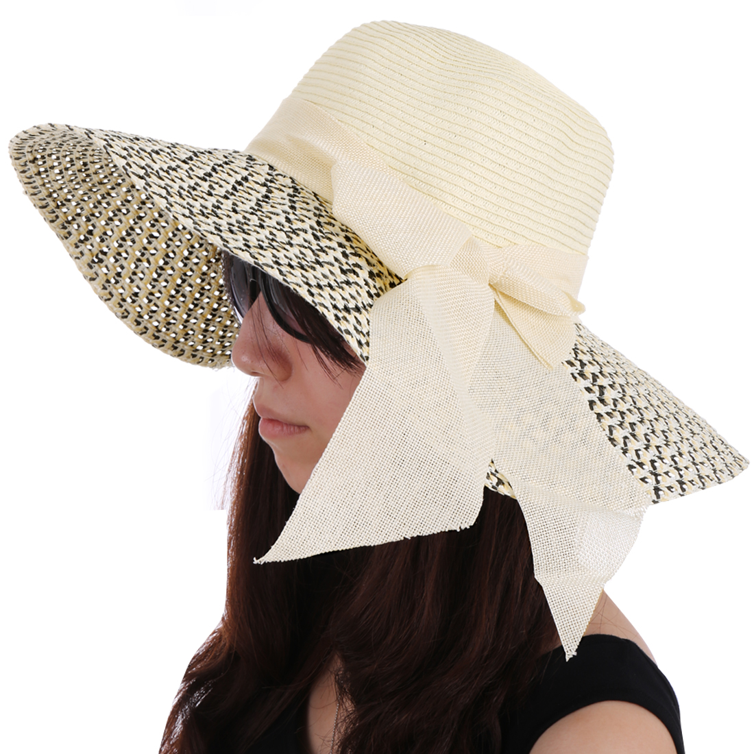 Women Round Brim Contrast Color Sun Hat Cream Black