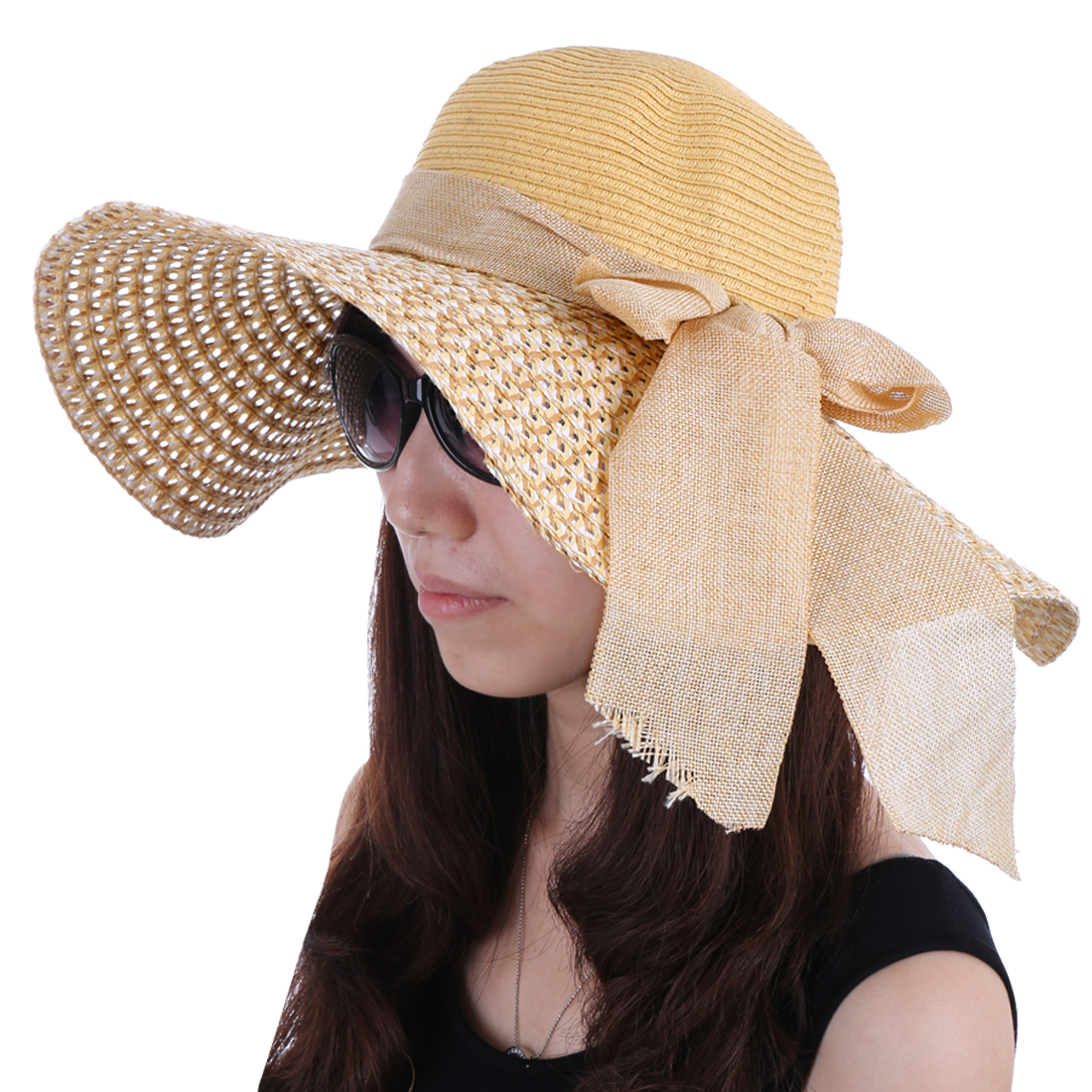 Women Woven Straw Color Blocking Hat Beige White