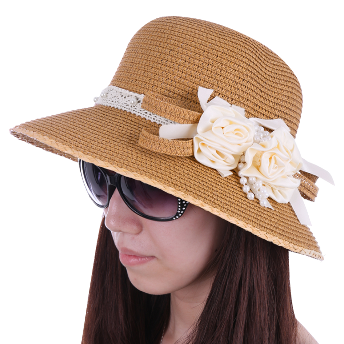 Women Woven Straw Crochet Strap Detail Sun Hat Light Brown