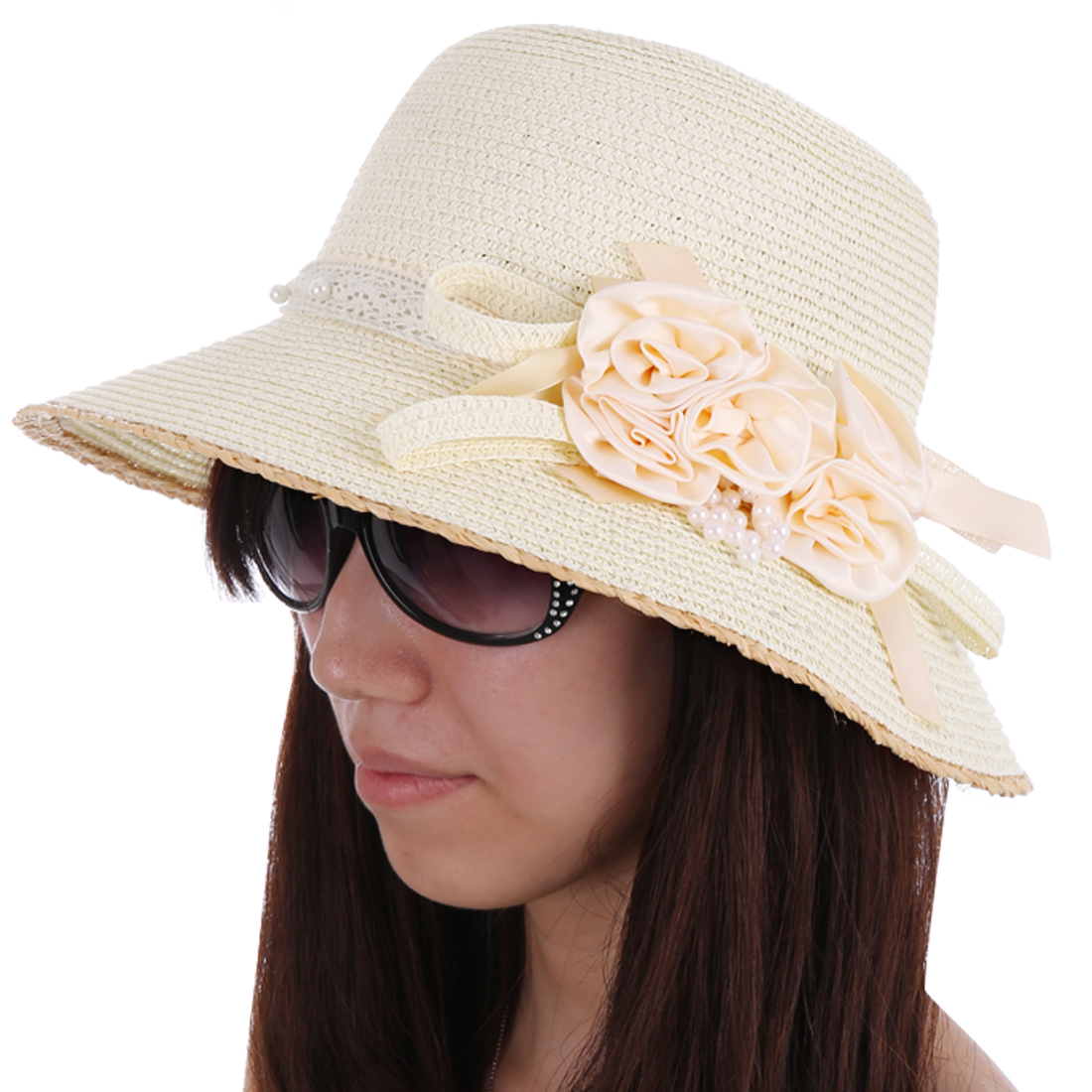 Women Round Brim Flower Beads Decor Sun Hat Cream