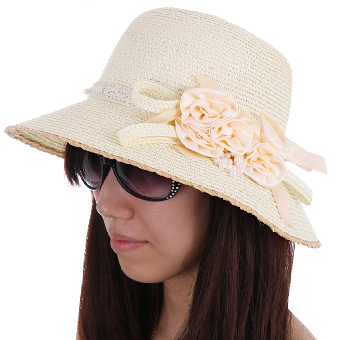 Women Round Brim Flower Beads Decor Sun Hat Cream