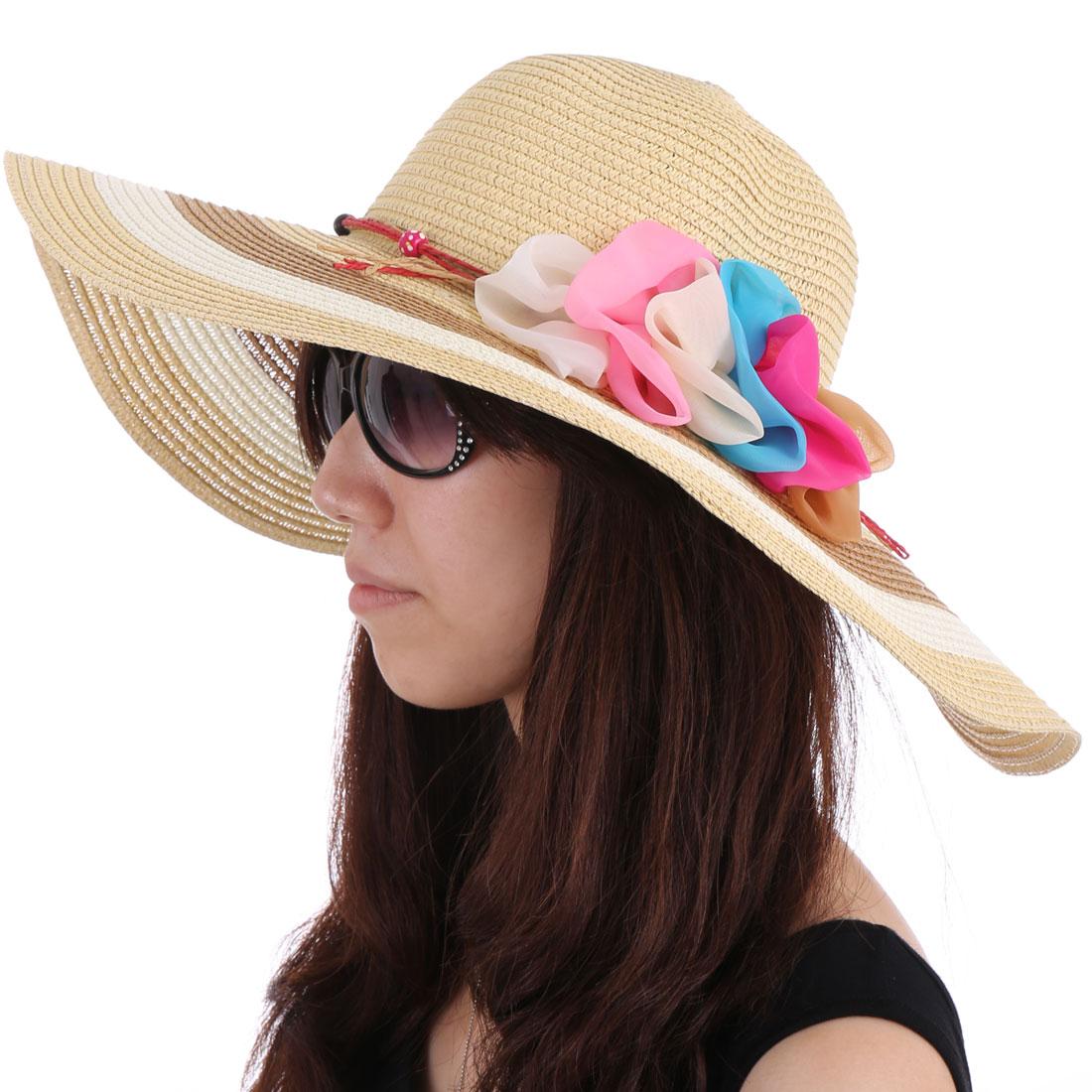 Women Color Blocking Wide Brim Sun Hat Beige White