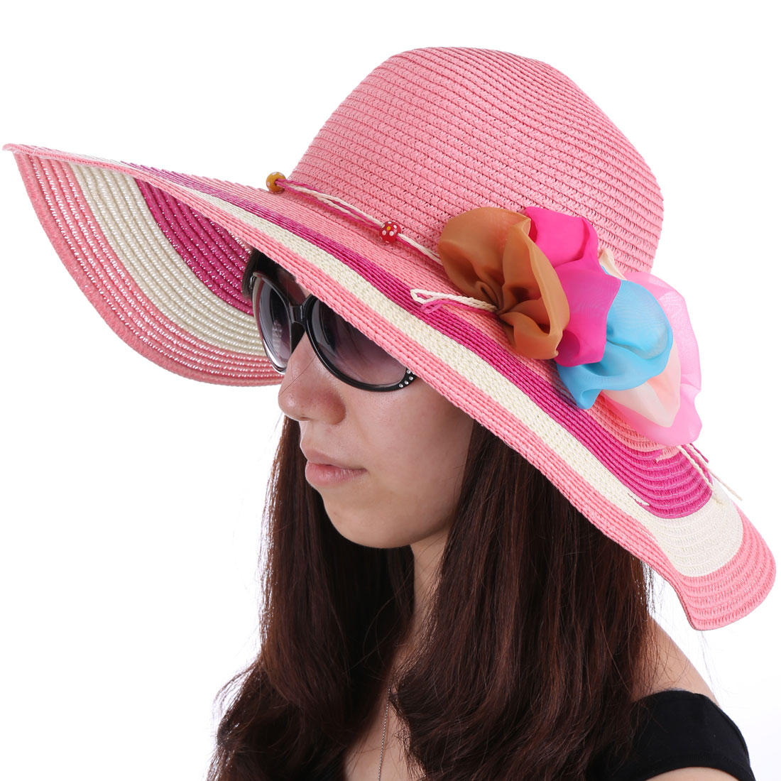 Women Round Brim Ropes Decor Sun Hat Pink White