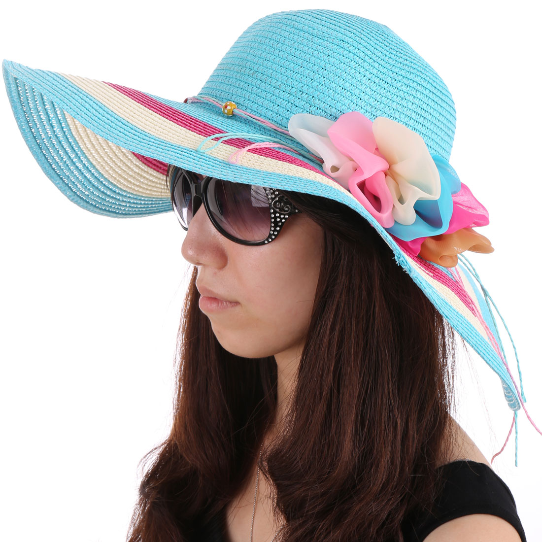 Women Stretchy Neck Strap Flower Decor Hat Aqua White