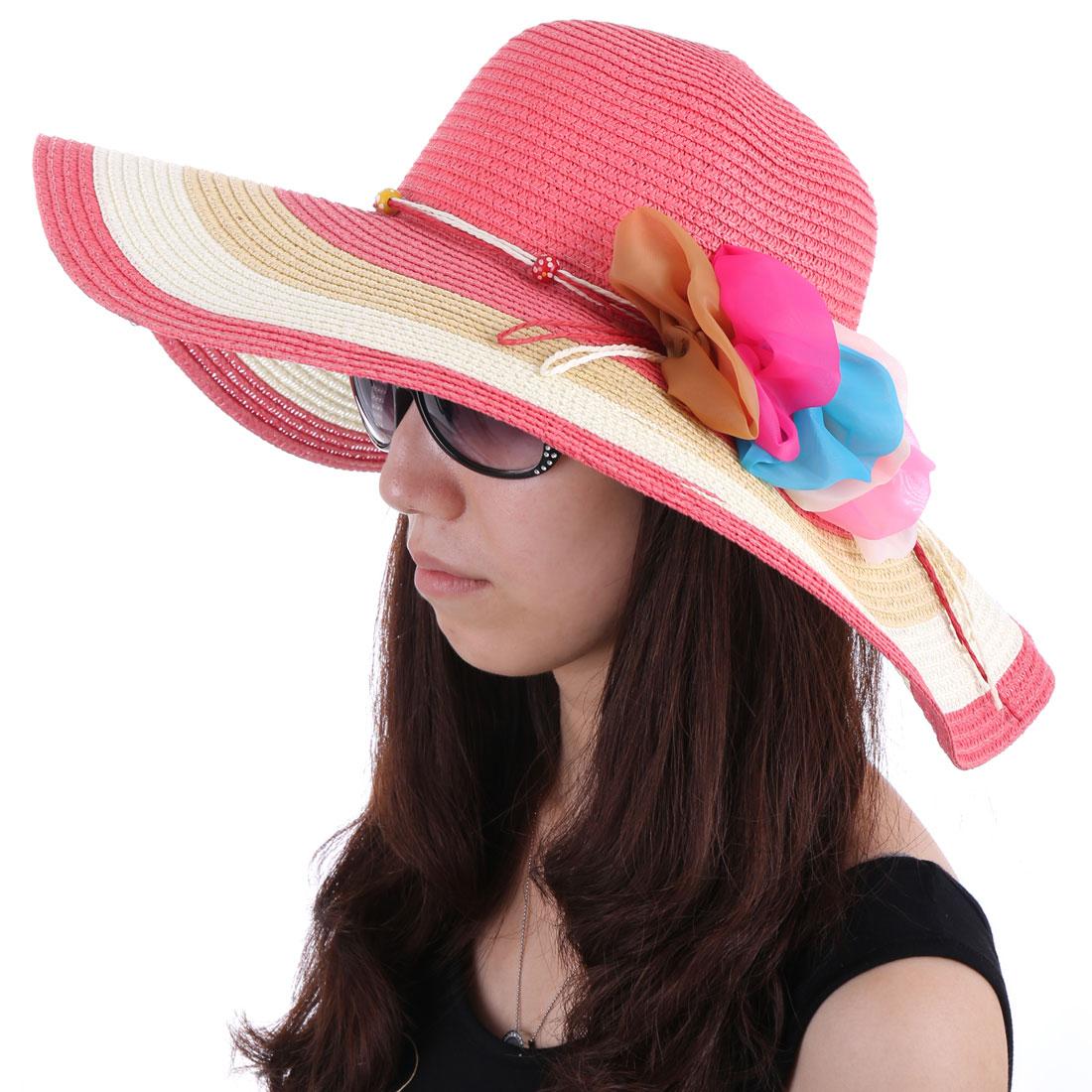 Women Wide Brim Woven Straw Beach Sun Hat Brick Red White
