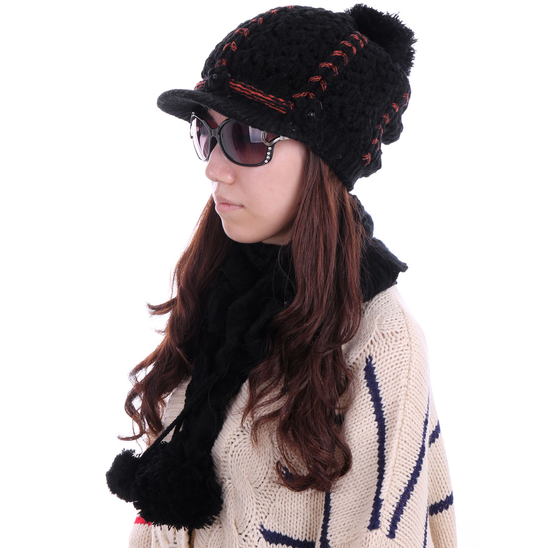 Women Braided Wool Hat & Sweet Warm Scarf Black