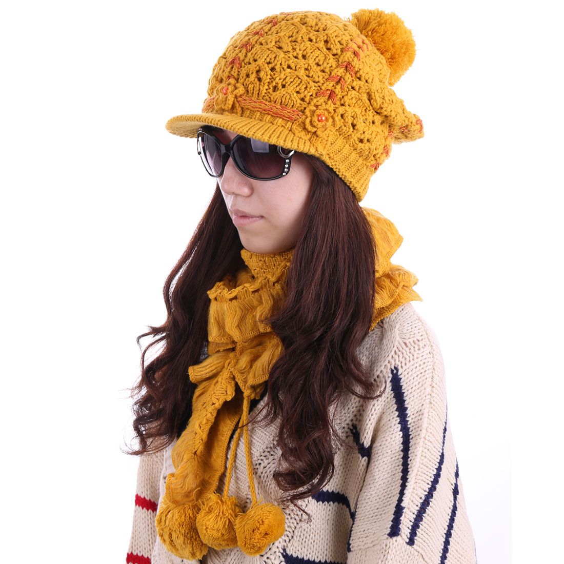 Women Pom Pom Kintted Hat & Soft Scarf Dark Yellow