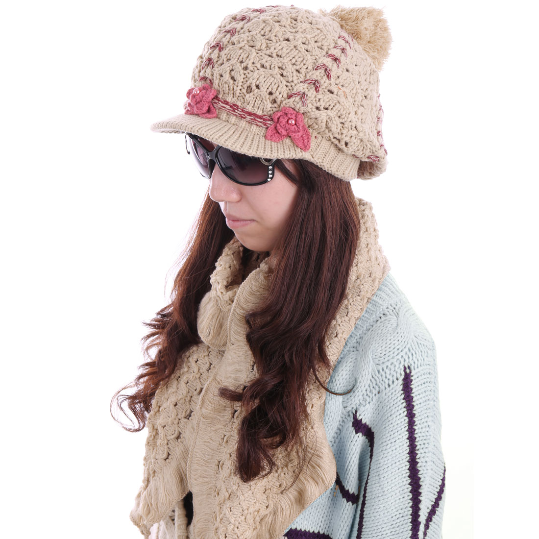 Women Knitted Flower Decor Hat & Flouncing Scarf Khaki