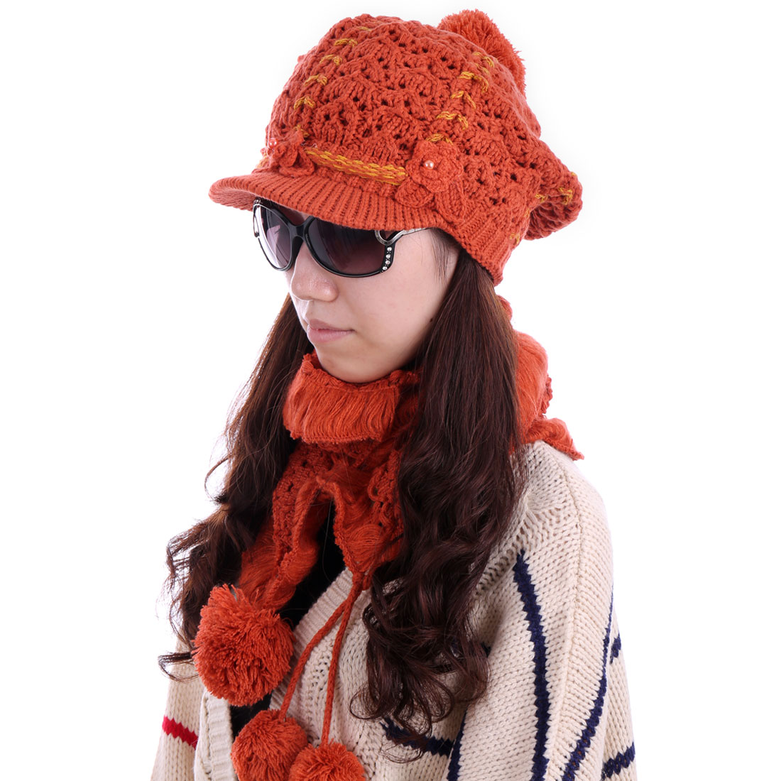 Women Braided Wool Hat & Flounced Winter Scarf Brick Red