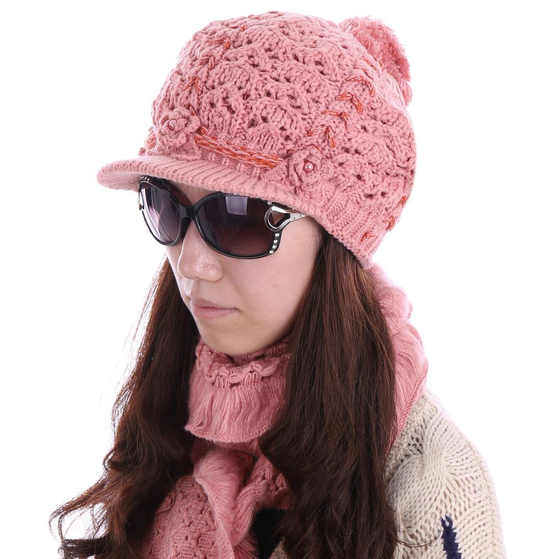 Women Pom Pom Sweet Hat & Winter Wearing Scarf Pale Pink