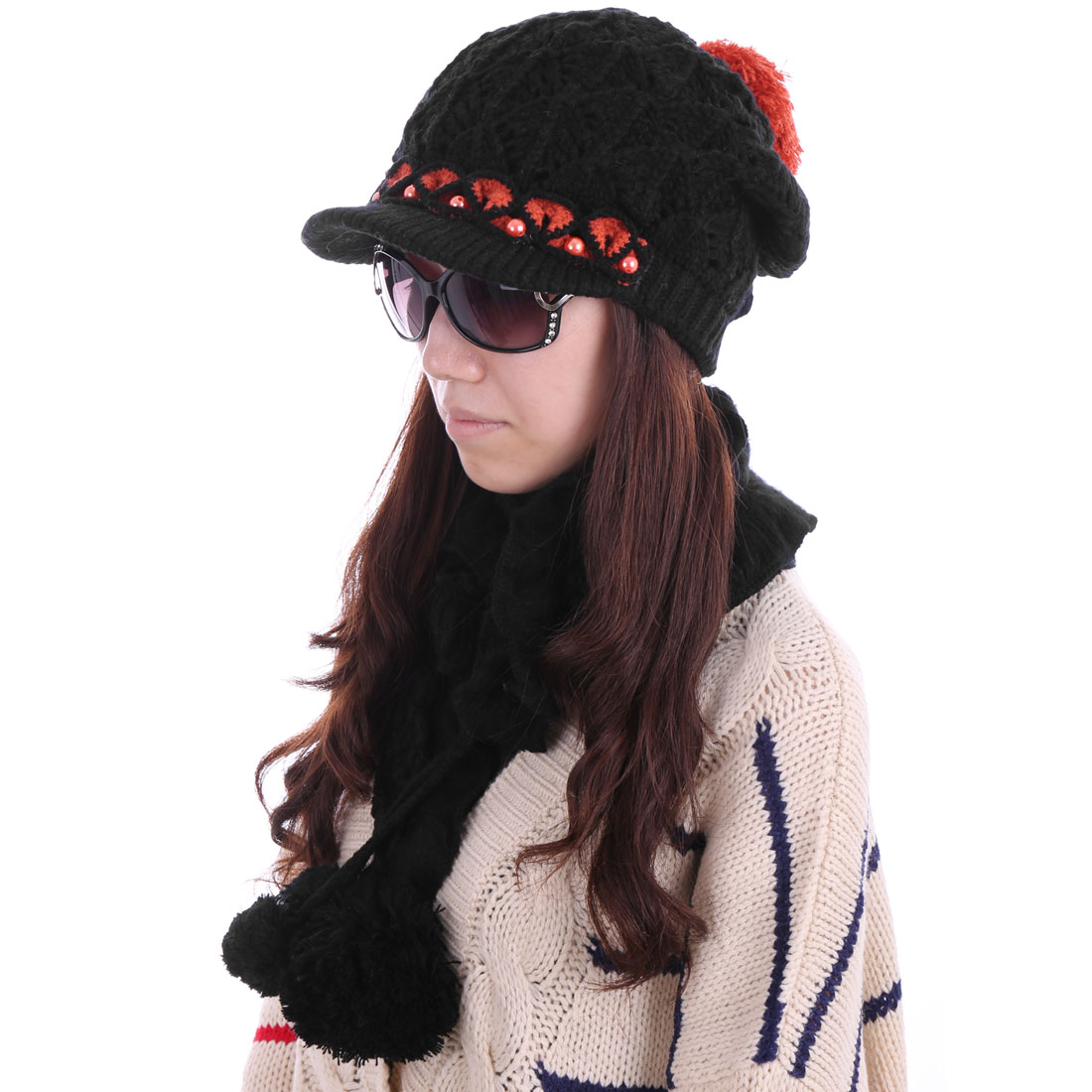 Women Beads Pom Pom Hat & Winter Wool Scarf Black