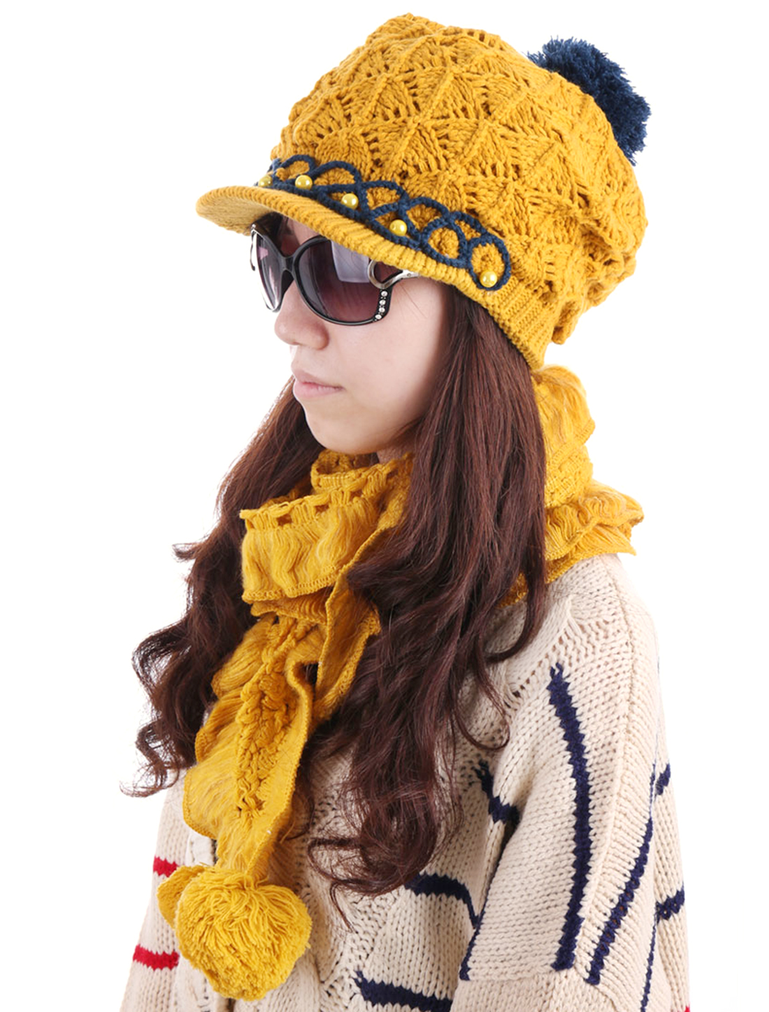 Women Flower Decor Pom Pom Hat & Winter Scarf Dark Yellow