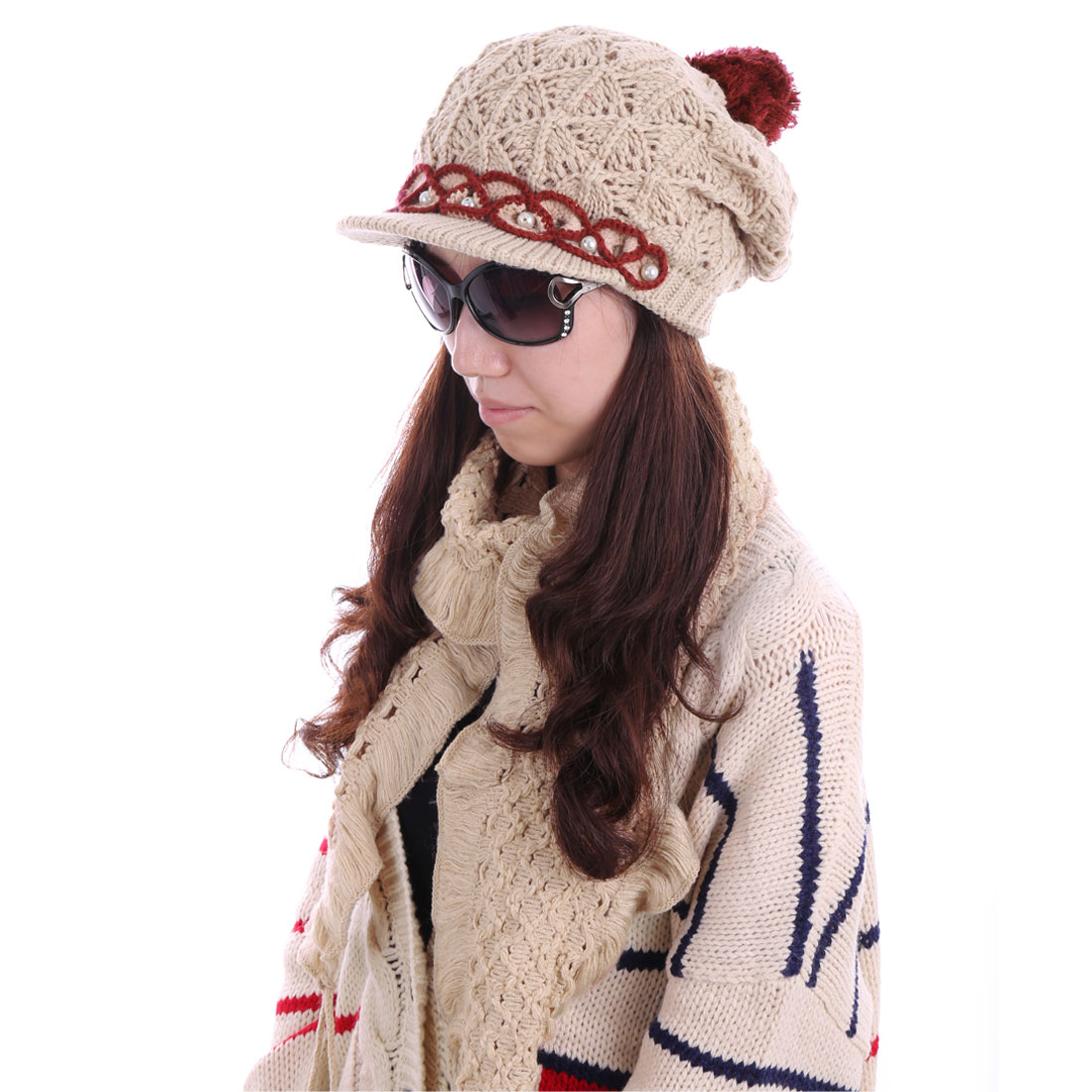 Women Knitting Brim Hat & Hollow Out Wool Scarf Khaki