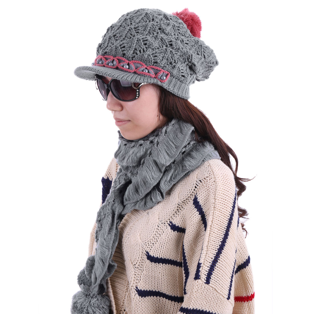 Women Beads Decor Hat & Winter Wearing Scarf Gray
