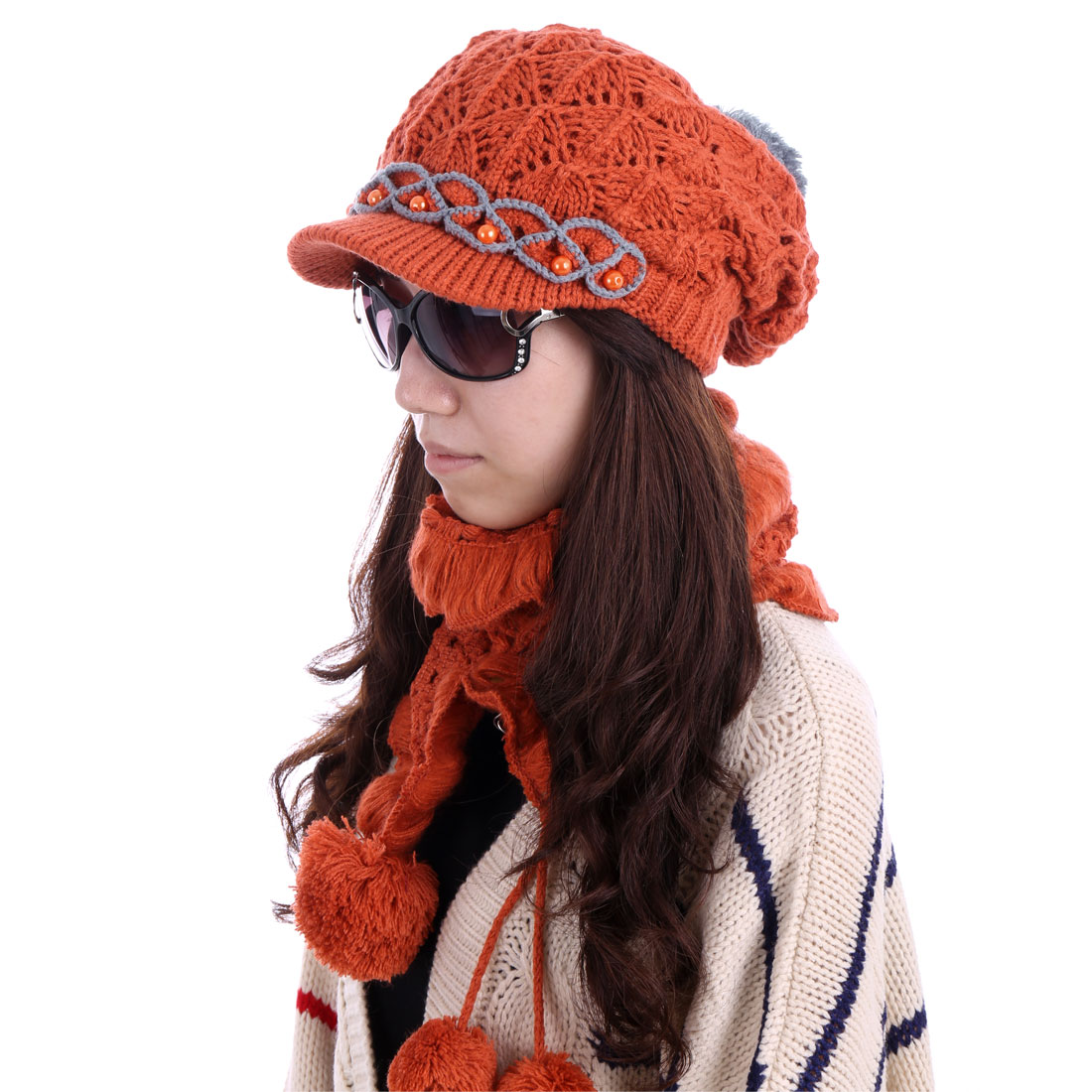 Women Beads Winter Wearing Hat & Ruffled Scarf Brick Red