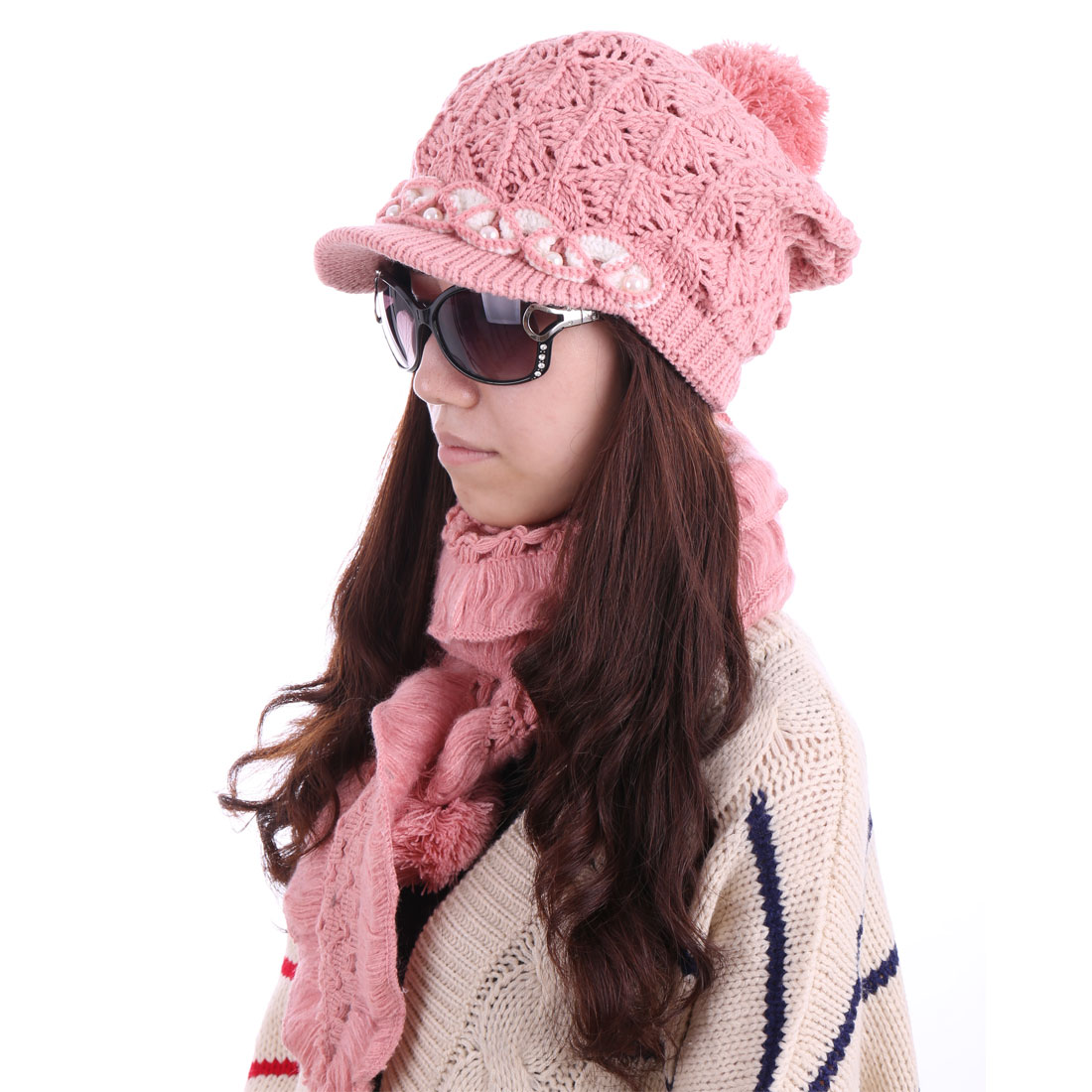 Women Beads Fashion Hat & Stylish Winter Scarf Pale Pink