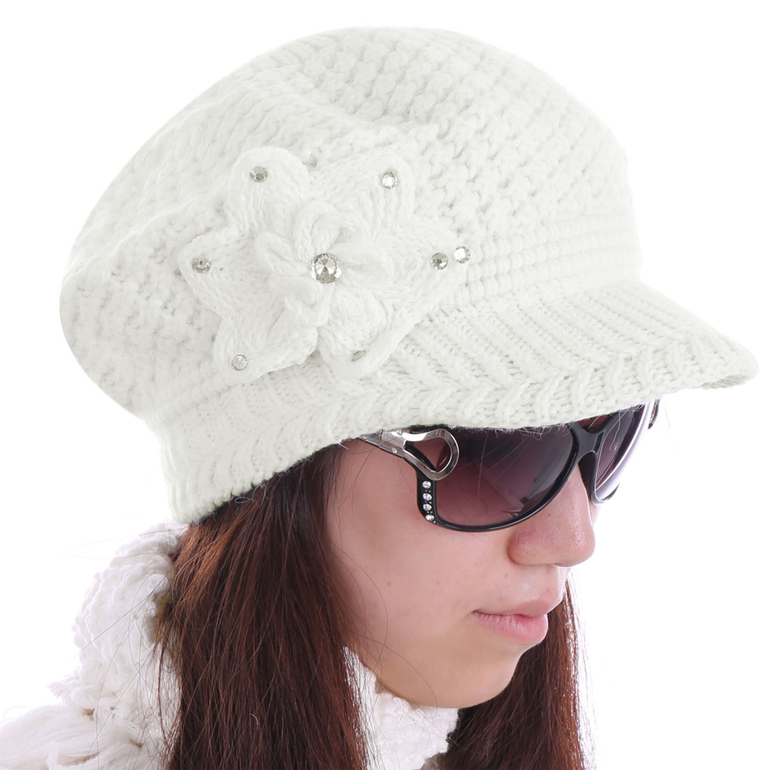 Women Flower Pattern Fashionable Warm Hat White