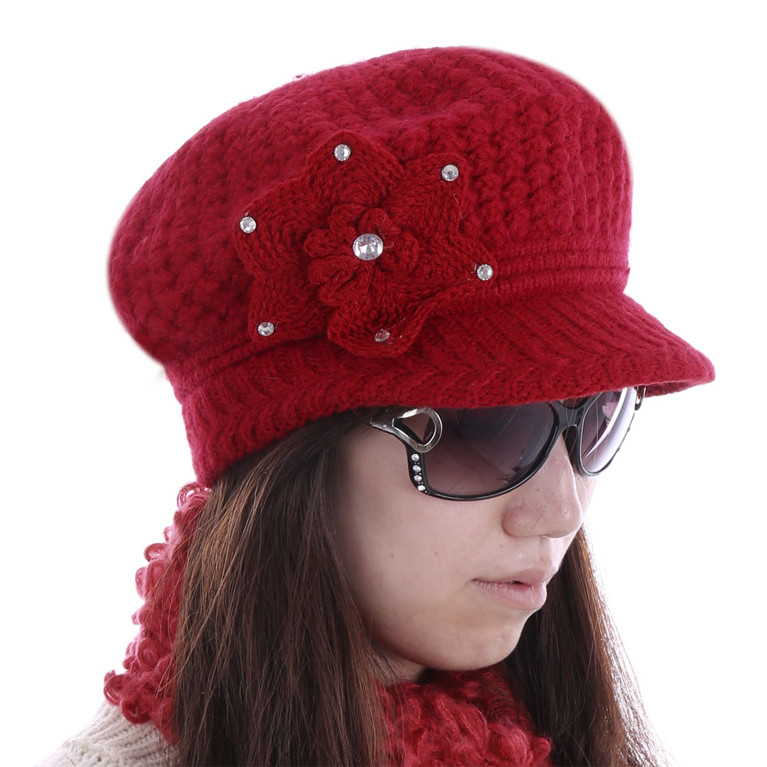Women Rhinestone Embellished Knitting Hat Dark Red
