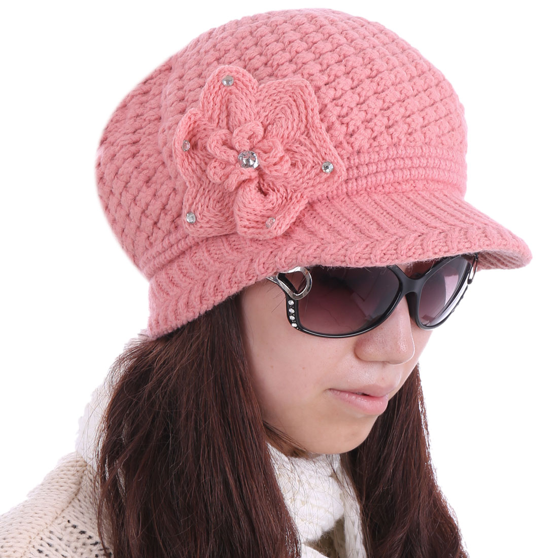 Women Ribbing Winter Wearing Soft Stylish Hat Pink