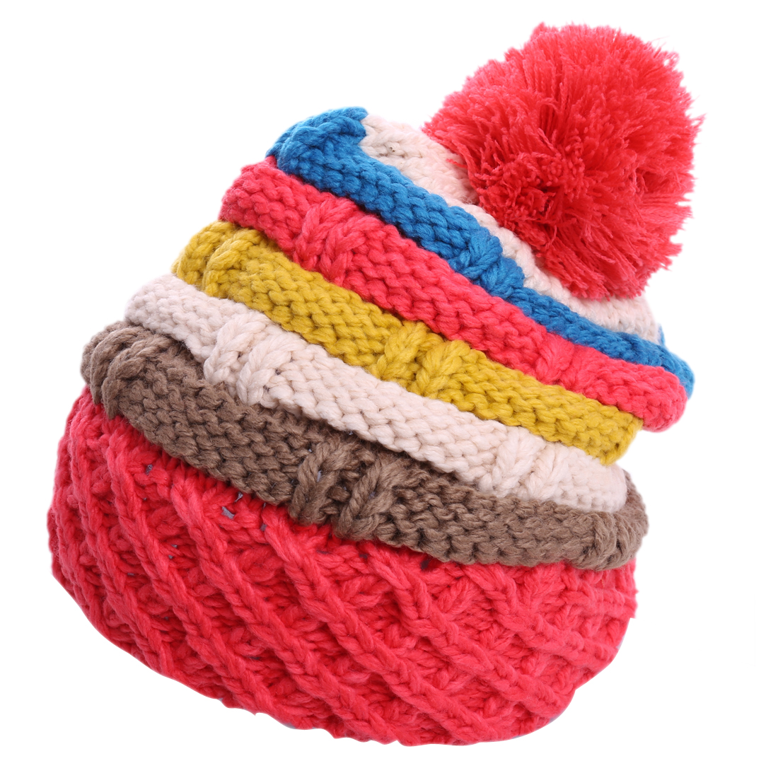 Woman Pretty Red Beige Colorful Striped Warm Cable-Knitted Hat