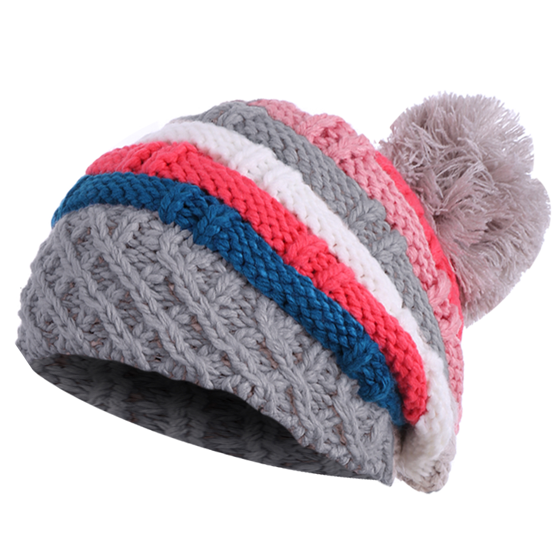 Stylish Dark Gray Red Colorful Striped Winter Knitted Hat for Lady