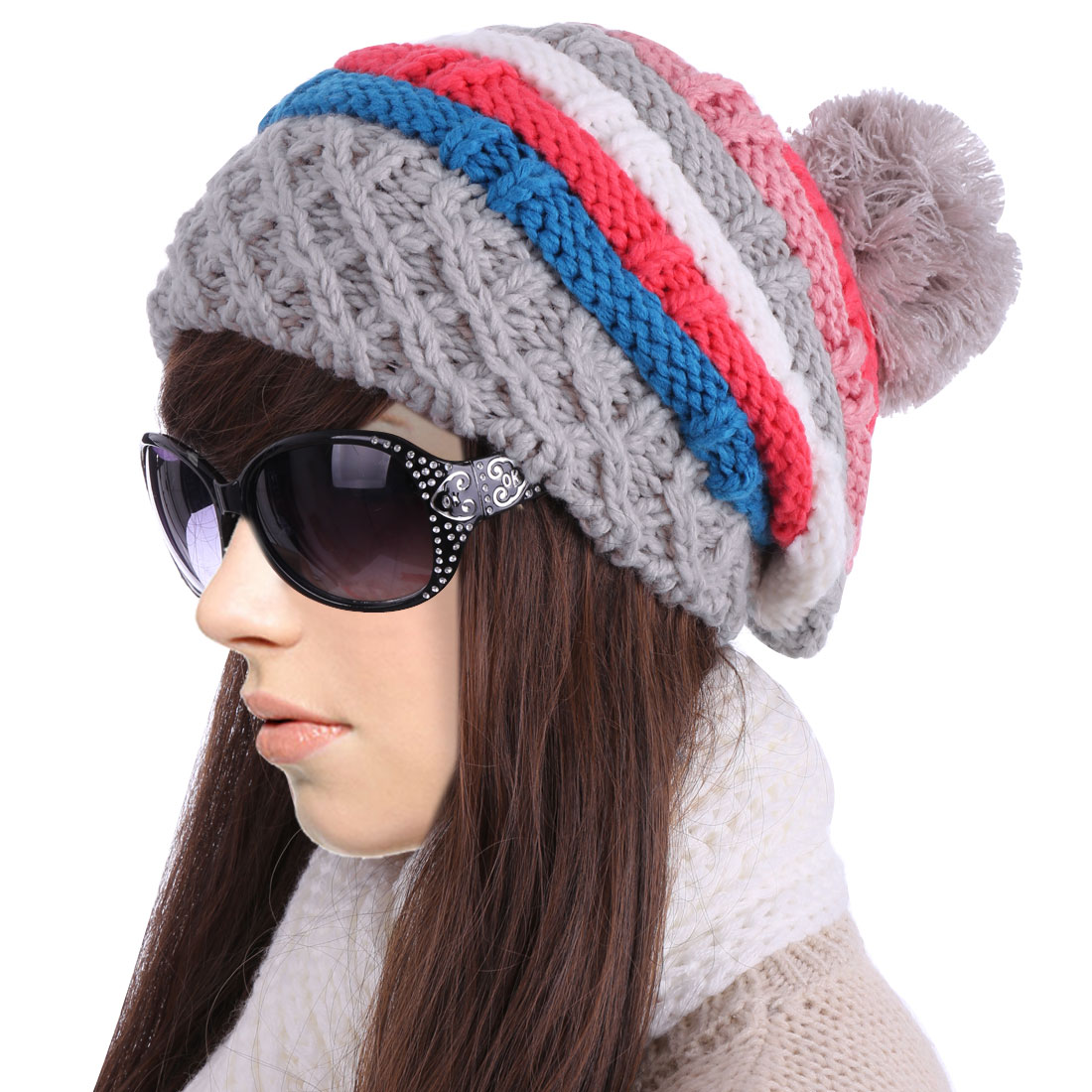 Ladies Chic Colorful Striped Light Gray Red Winter Cable-Knitted Hat