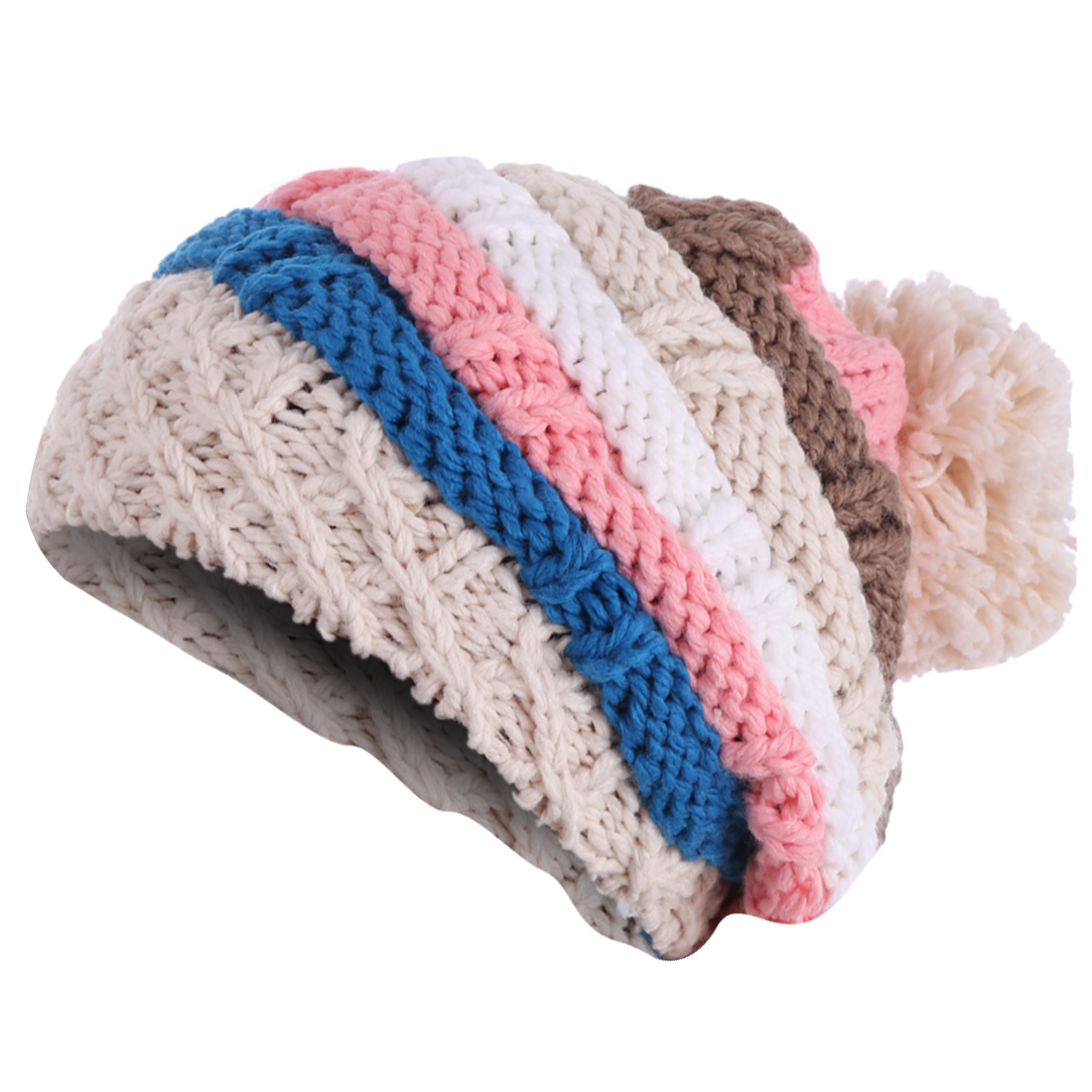 NEW Fashion Ladies Beige Pink Contrast Color Striped Knitted Hat