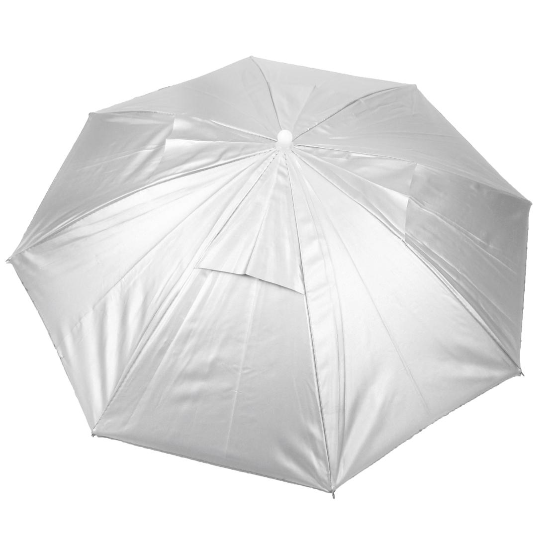 Sports Elastic Head Band Folding Hunting Umbrella Hat Silver Tone
