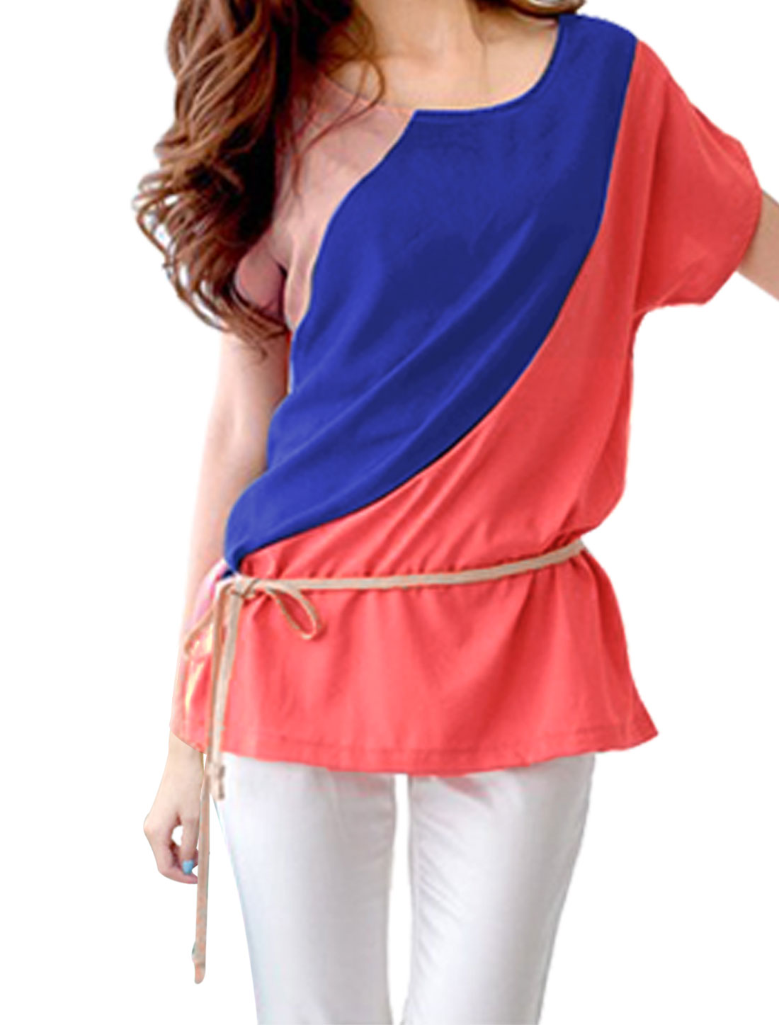 Woman Scoop Neck Short Dolman Sleeve Watermelon Red Blue Blouse XS