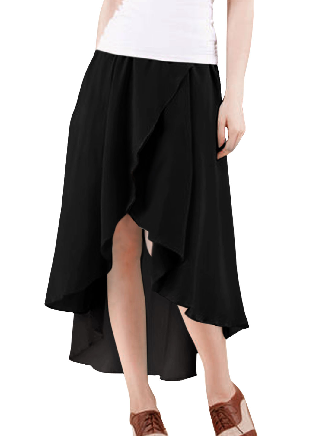 Pure Black Color Asymmetric Low-High Hem Knee-Length Skirt L for Lady