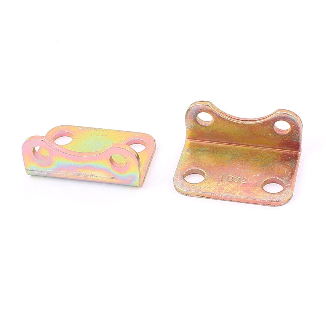 4 Hole 50 x 35 x 23mm Right Angle Brass Tone Corner Bracket 2 Pcs