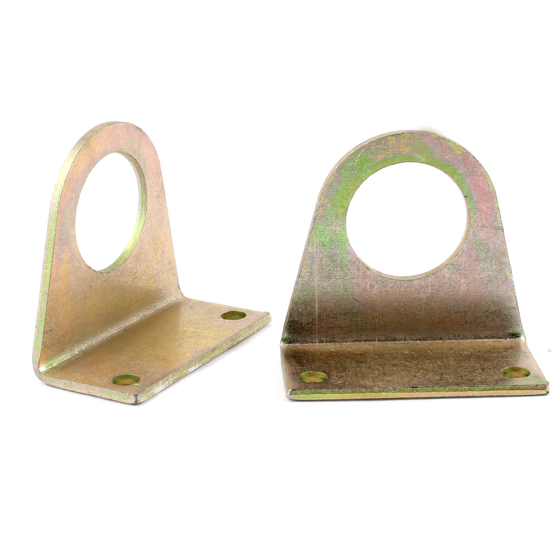 "1.3"" Dia Hole 2.4"" x 1.1"" x 2.2"" Right Angle Brass Tone Corner Bracket 2 Pcs"