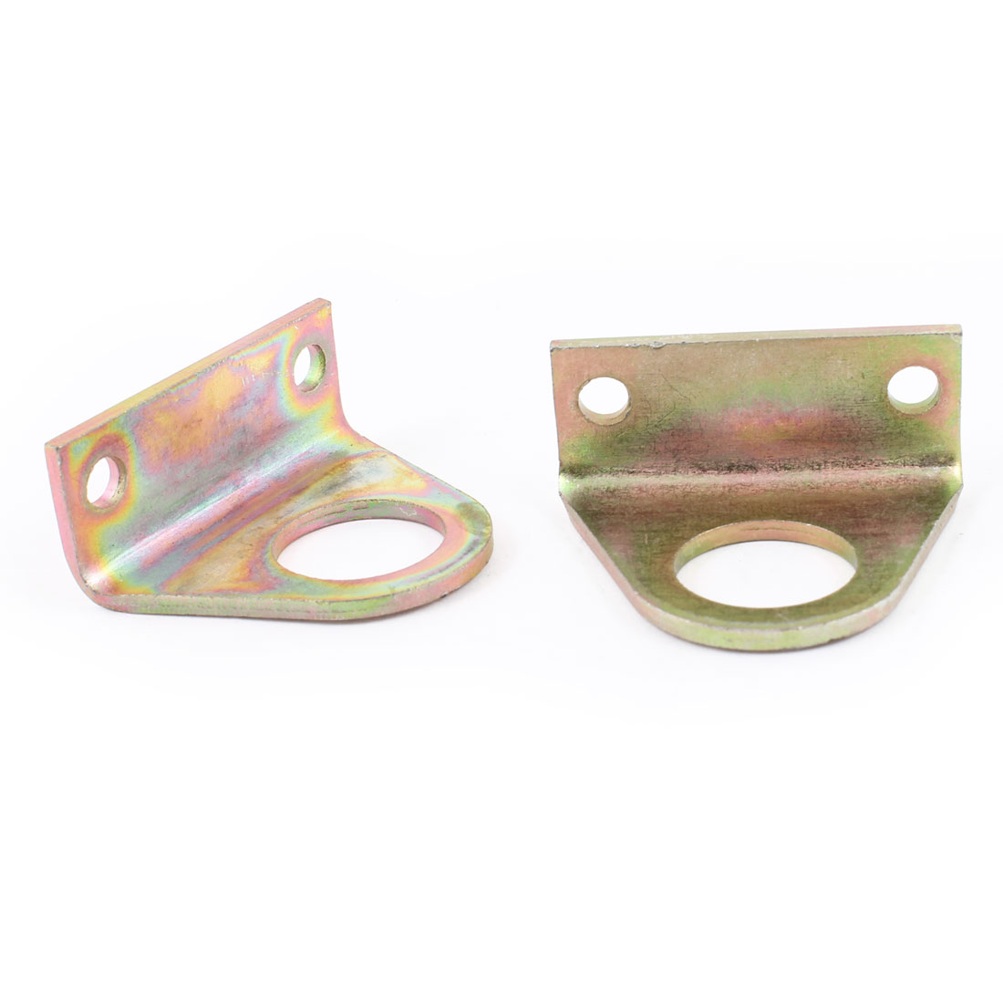 "0.8"" Dia Hole 2"" x 0.8"" x 1.6"" Right Angle Brass Tone Corner Bracket 2 Pcs"