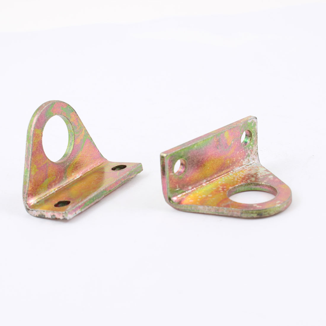 "0.6"" Dia Hole 1.8"" x 0.6"" x 1.2"" Right Angle Brass Tone Corner Bracket 2 Pcs"