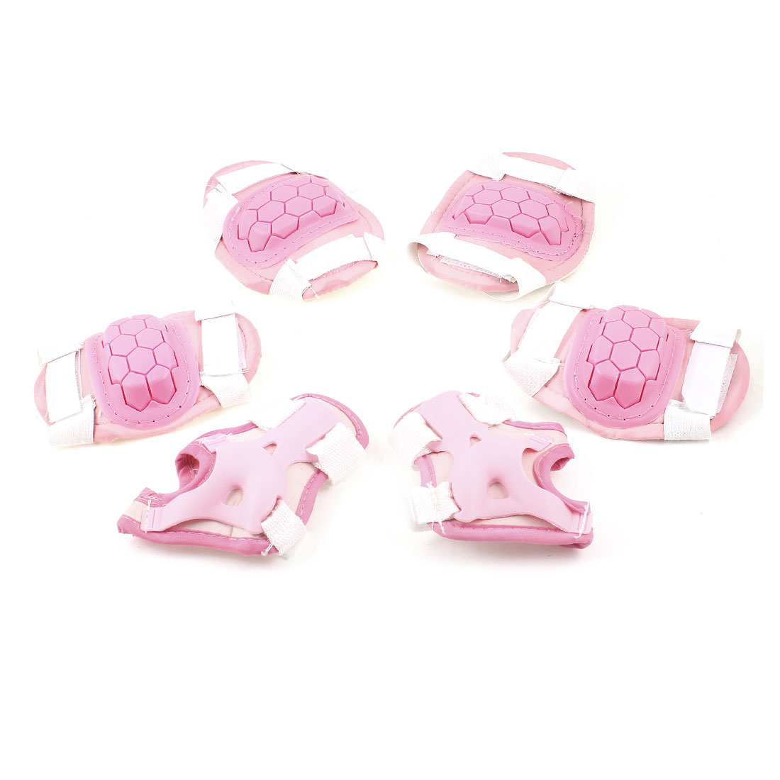 Pink Turtle Shell Pattern Palm Elbow Knee Support Guard 6 in 1 Set for Child