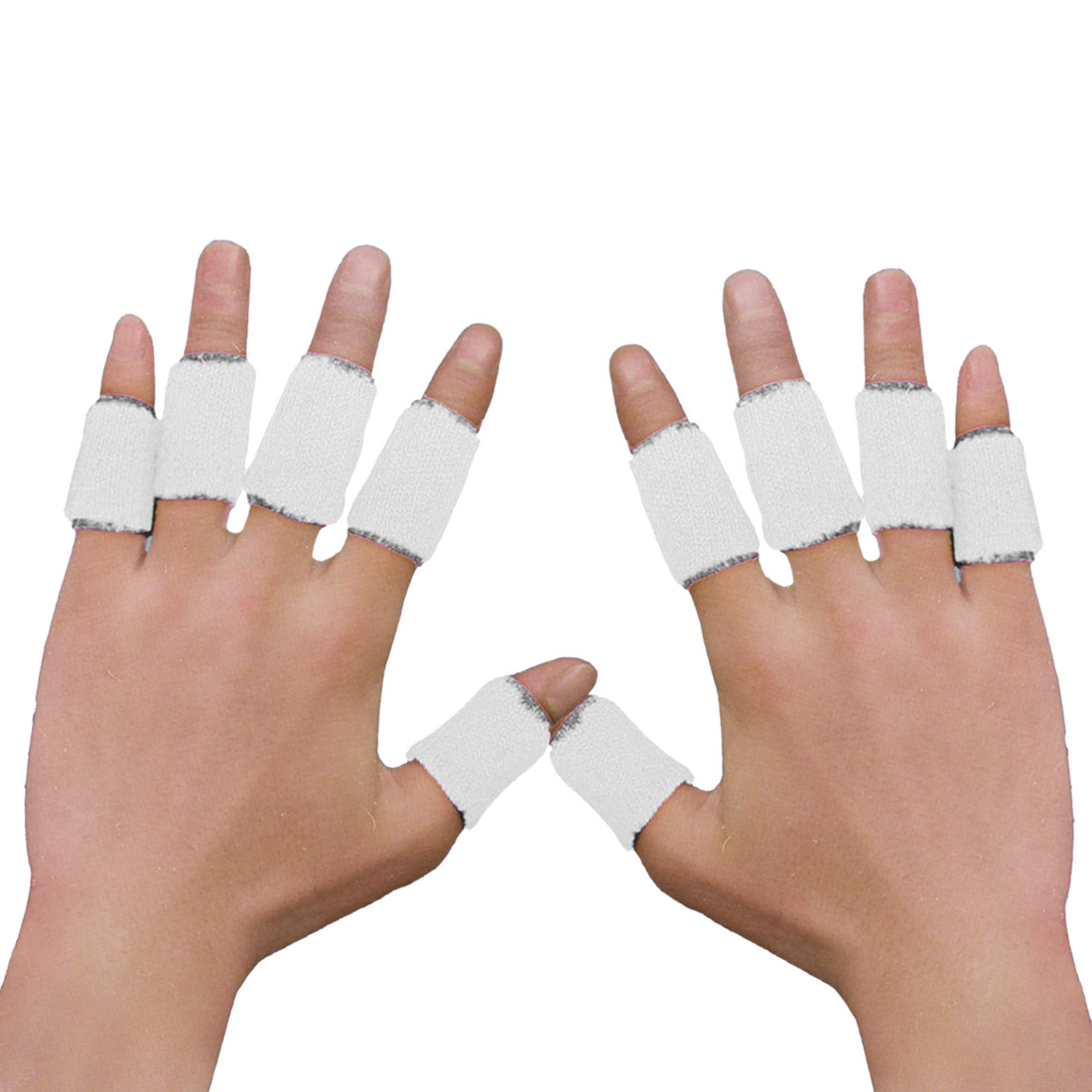 10 Pcs Volleyball Basketball Finger White Elastic Sleeve Wrap