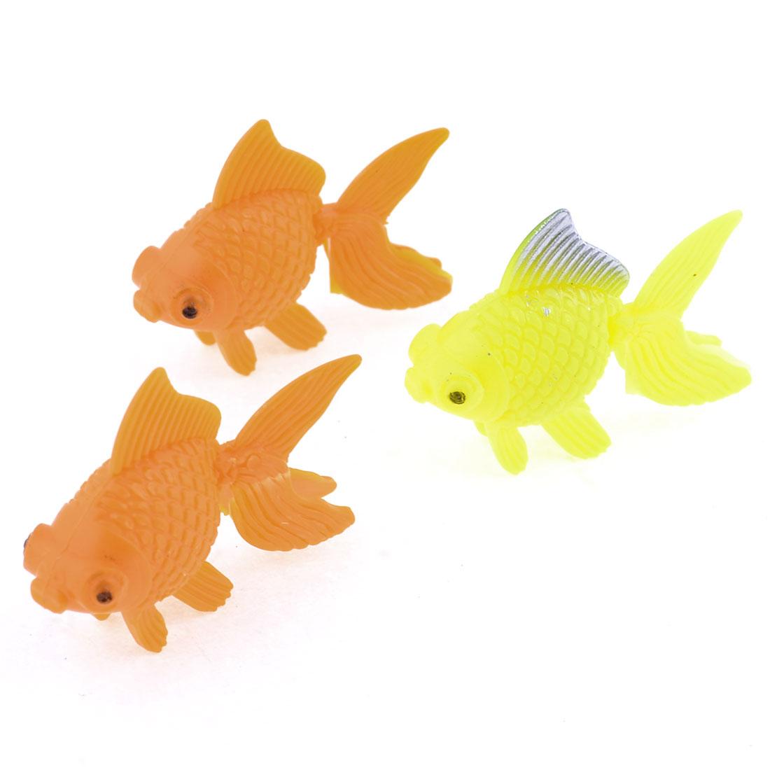 Orange Yellow Wiggling Tail Floating Goldfish Aquarium Fish Tank Ornament 3 Pcs